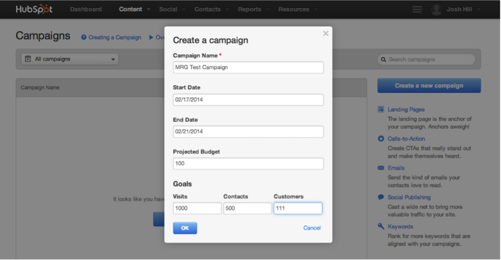 HubSpot Create a Campaign Dialog
