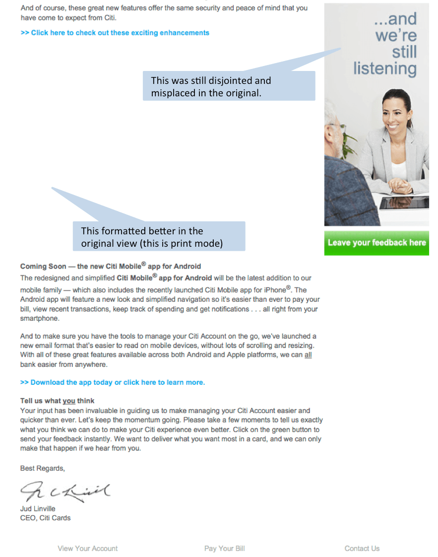 Poor Email and Page Layout Example - Marketing Rockstar Guides