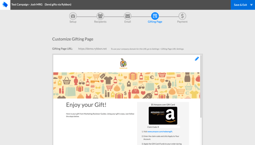 Using Rybbon to Send Gift Cards Automatically - Marketing Rockstar