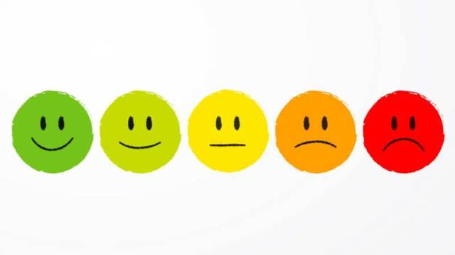 Image associated with smiley faces and frowny people illustrating different mood states
