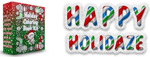 Happy Holidaze PLR Coloring Book Kit