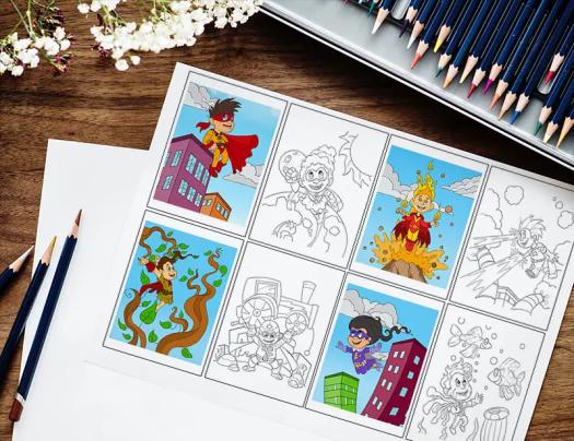 Superhero Fun Coloring