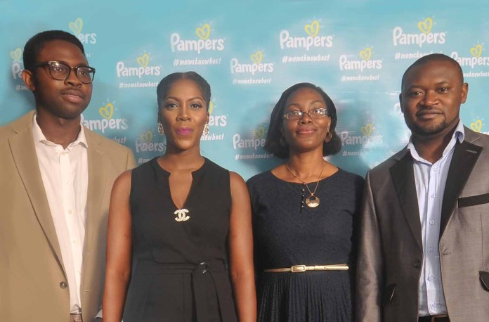 L-R: Pampers Communications Manager, Tomiwa Ajewole, Pampers Advocate Tiwa Savage, Pampers Paediatrician, Dr. Ronke Akinola and ABM Pampers, Olumide Aruleba.