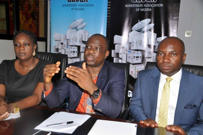 From Left;Mrs Ediri Ose-Ediale;Executive Secretary Advertiser Association of Nigeria[ADVAN]Mr David Okeme,Presisdent and Mr Sampson Oloche,Publicity Secretary all of Advan.At the press briefing on Advan Marketers Conference 2016 held in Lagos on Tuesday 26/04/2016.PHOTO BY AKEEM SALAU