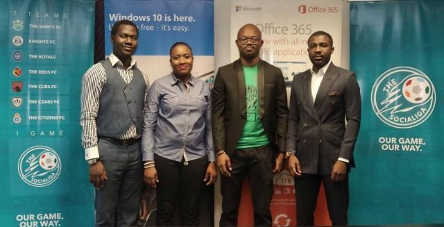 L- R: Olusola Amusan, Citizenship Manager, Microsoft Nigeria, Adedamola Onasile, Marketing Specialist, Channels Consumer Group, Microsoft Nigeria, Opeyemi Tokoya, Managing Director, SociaLiga, Dimeji Williams, CEO of SociaLiga at the partnership announcement held at the Microsoft Nigeria office in Lagos recently