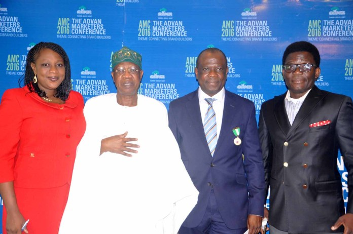 From left: Mrs Ediri Ose-Ediale, Executive Secretary ADVAN, Alhaji Lai Mohammed, Hon Minister of Information and Culture, Mr David Okeme, President Advertisers Association Of Nigeria (ADVAN) and Mr Allen Ose-Ediale, CEO Shepherdfield Network at the 2016 Advertisers Association of Nigeria (ADVAN) Marketers Conference with the theme: Connecting Brand Builders held at Sheraton hotel Ikeja, Lagos.