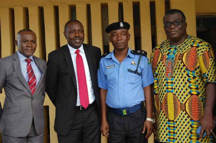 L-R:  ICOC Ikeja-Ketu/Mowe Men's Forum Committee Member, Mr. Desmond Ekeh,  Chairman of the Forum, Mr. Uwamai Igein, DPO Alausa Police Station, Gbolahan Olugbemi and the Evangelist Ikeja-Ketu/Mowe Region of International Church of Christ, Mr. Emeka Okechukwu at the donation of laptops and printer to Alausa Police Station as part of Ikeja-Ketu/Mowe Men's Forum CSR initiative in Lagos Today.