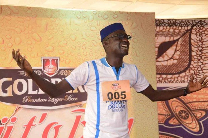 Salam Wasiu Olanrewaju, an Agricultural Engineering graduate of Federal University of Technology, performing on stage during the Goldberg Fuji t'o Bam audition held at Egbeda, Lagos