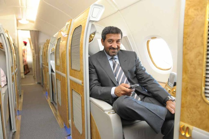 His Highness (H.H.) Sheikh Ahmed bin Saeed Al Maktoum, Chairman and Chief Executive, Emirates Airline and Group, sitting in Emirates First Class suite