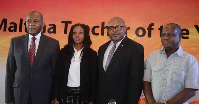 L-R: Mr. Victor Famuyibo, Human Resources Director, Nigerian Breweries Plc; Mrs. Rose Nkemdilim Obi, 2015 Maltina Teacher of the Year; Mr. Kufre Ekanem, Corporate Affairs Adviser, Nigerian Breweries Plc; and Mr. Wole Oyeniyi, Deputy General Secretary, Nigerian Union of Teachers, NUT at the flagging off the 2016 Maltina Teacher of the Year in Lagos on Wednesday.