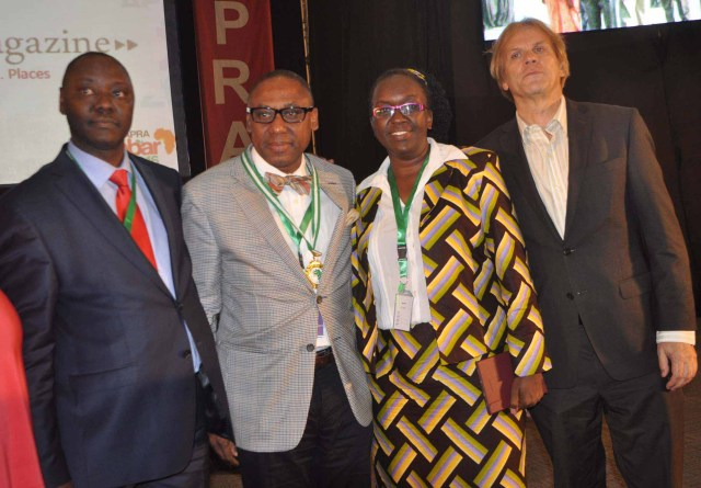From left: Mr Peter Mutie, outgoing President of the African Public Relations Association (APRA); Mr Yomi Badejo-Okusanya, new APRA President; Ms Jane Gitau, new APRA Secretary General who is also President,  Public Relations Society of Kenya; and Mr Bart de Vries, President of the International Public relations Association (IPRA) after the inauguration of the new APRA Executive at the just concluded APRA Calabar 2016 Conference