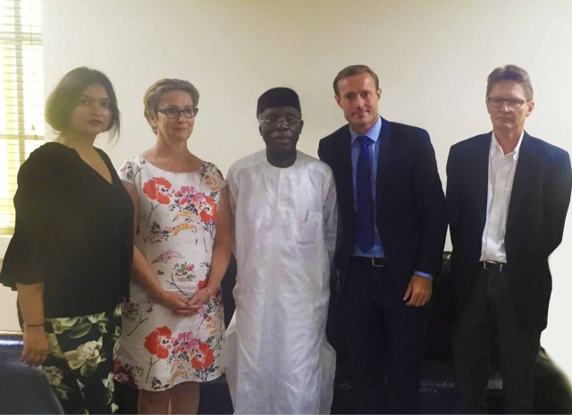 L-R:  Ivana Tsvetkova, CSR Project Manager Arla Foods; Irene Quist Mortensen, Head of Corporate Responsibility, Arla Foods International; Chief Audu Ogbeh, (OFR), Minister for Agriculture and Rural Development;  Kasper Thormod Nielsen, Director, Trade Policy and Flemming Larsen, Senior Agricultural Specialist, Arla International during a visit to the Minister at the end of the field Visit by the Arla International team to local dairy farms in Nigeria
