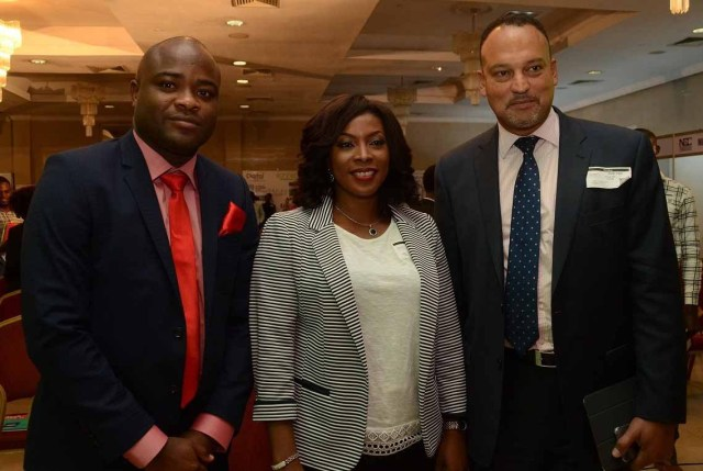 L-R, Vice President, Network Operations, Airtel Nigeria, Adedoyin Adeola; Country Manager, Google Nigeria, Mrs. Juliet Ehimuan-Chiazor with Managing Director, Rack Centre, Ayotunde Coker at the Nigeria International Technology  and Exhibition Conference (NITEC) held at Victoria Island, Lagos on Thursday.
