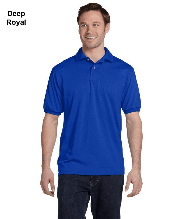 Hanes Adult 5.2 oz., 50/50 EcoSmart Jersey Knit Polo Shirt Deep Royal