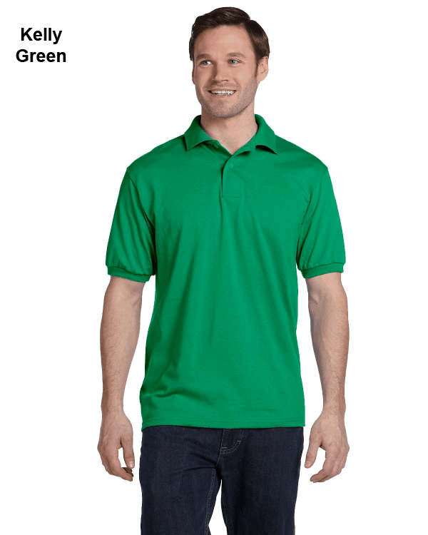 Hanes Adult 5.2 oz., 50/50 EcoSmart Jersey Knit Polo Shirt Kelly Green