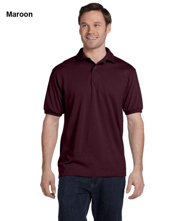 Hanes Adult 5.2 oz., 50/50 EcoSmart Jersey Knit Polo Shirt Maroon