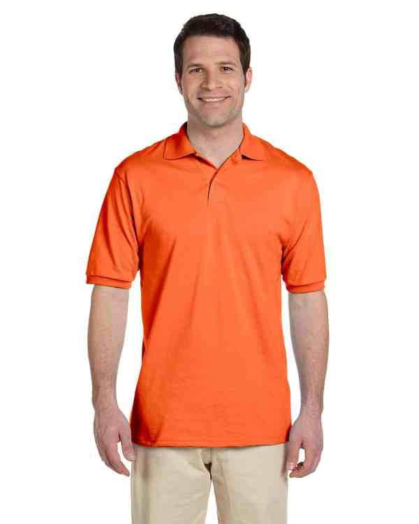 Jerzees Adult 5.6 oz. SpotShield Jersey Polo Shirt Burnt Orange Front