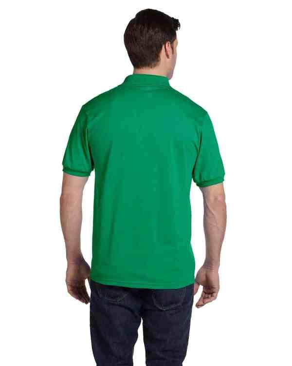 Hanes Adult 5.2 oz., 50/50 EcoSmart Jersey Knit Polo Shirt Kelly Green Back