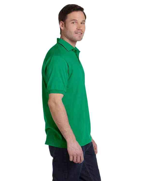 Hanes Adult 5.2 oz., 50/50 EcoSmart Jersey Knit Polo Shirt Kelly Green Side