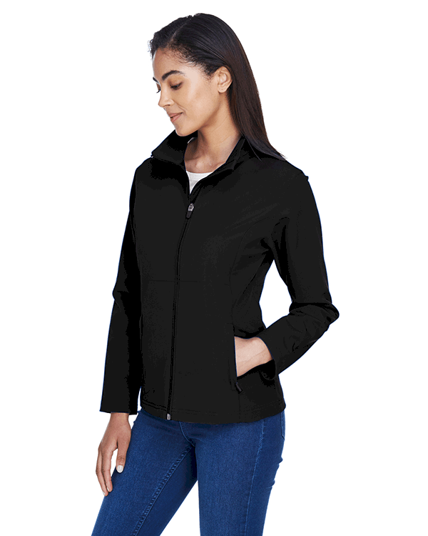Team 365 Ladies Leader Soft Shell Jacket Black Angle