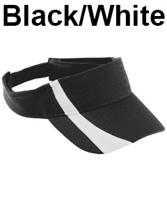 Augusta Drop Ship Adult Adjustable Wicking Mesh Two-Color Visor Black/White