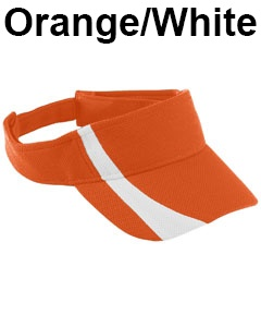 Augusta Drop Ship Adult Adjustable Wicking Mesh Two-Color Visor Orange/White