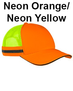 Big Accessories Safety Trucker Cap Neon Orange/Neon Yellow
