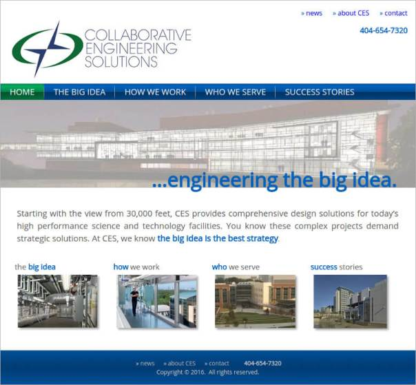 screenshot of collaborative engineering solutions front page