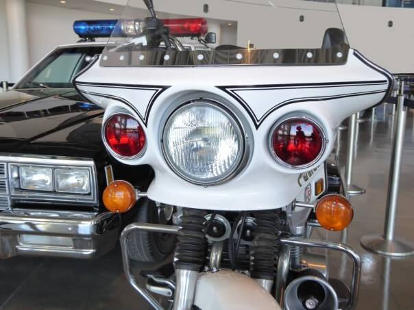 police car and motorcycle