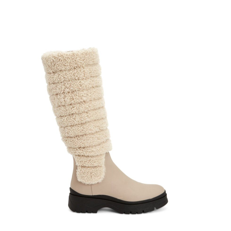 Aquatalia Skyla Taupe/natural In Size 8.5 - Leather - Made In Italy