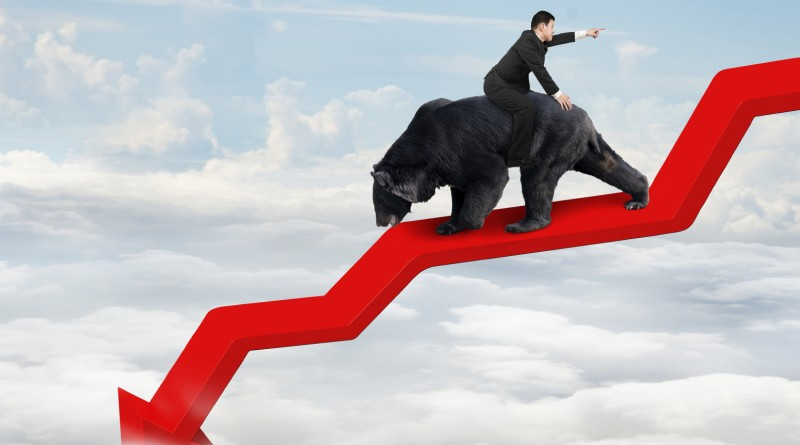 Businessman riding black bear on red arrow downward trend line with sky cloudscape background. Fight back bearish market concept.