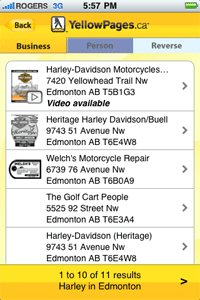 Yellow Pages Group (YPG) has launched a new version of its popular YellowPages.ca(TM) local search application for the Apple iPhone.