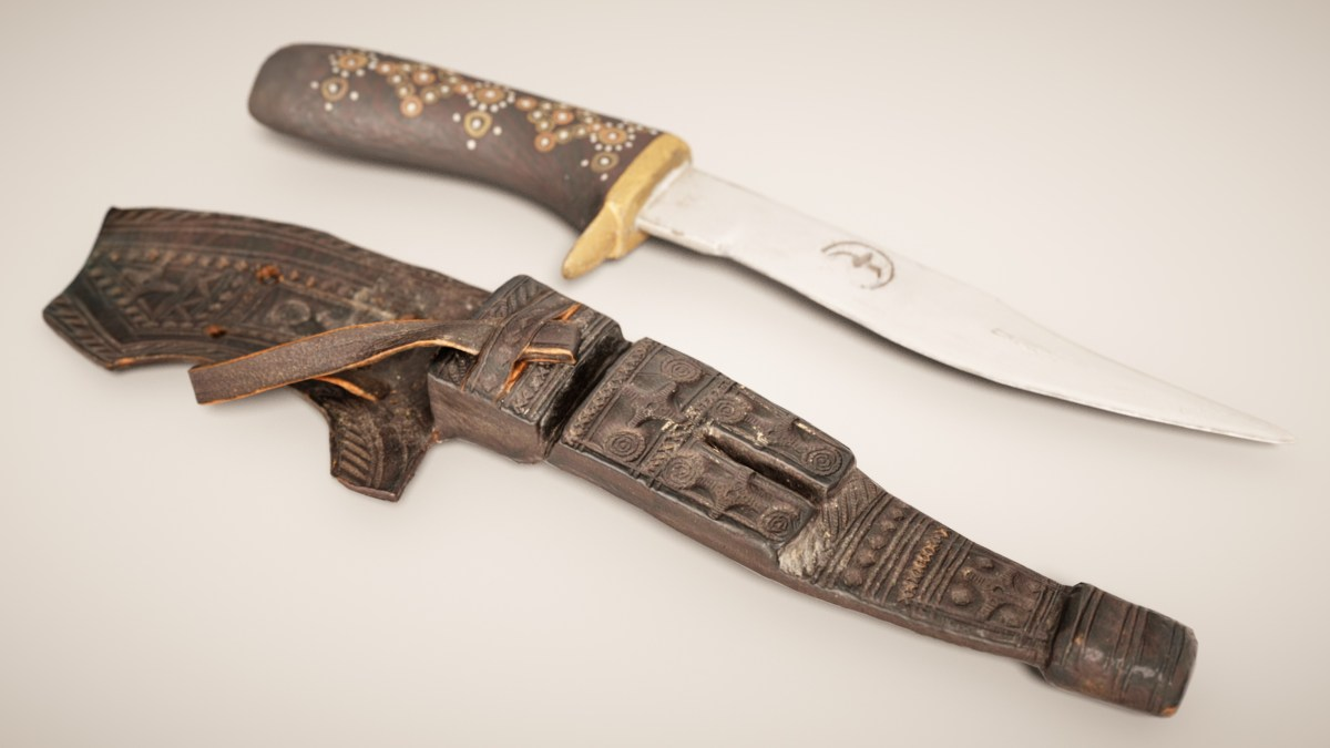 Black Leather Knife and Cover