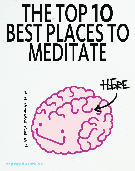 The top 10 best places to meditate: your brain.