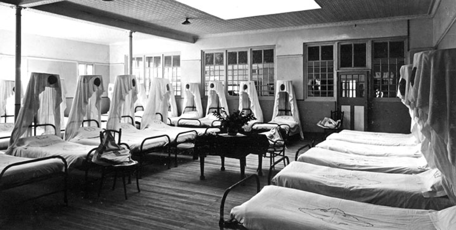 Men's Ward, Goodna Mental Hospital, Queensland, Australia, 1950. Wikicommons.