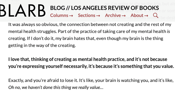 LARB Interview: Writing as mental health practice.
