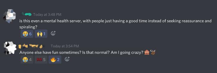mental health server having fun
