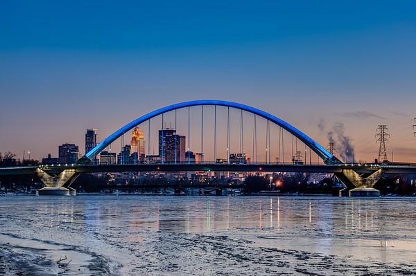 Lowry Avenue Bridge HDR, Minneapolis, New Lowry Avenue Bridge, Mississippi River, Winter, Ice, Frozen