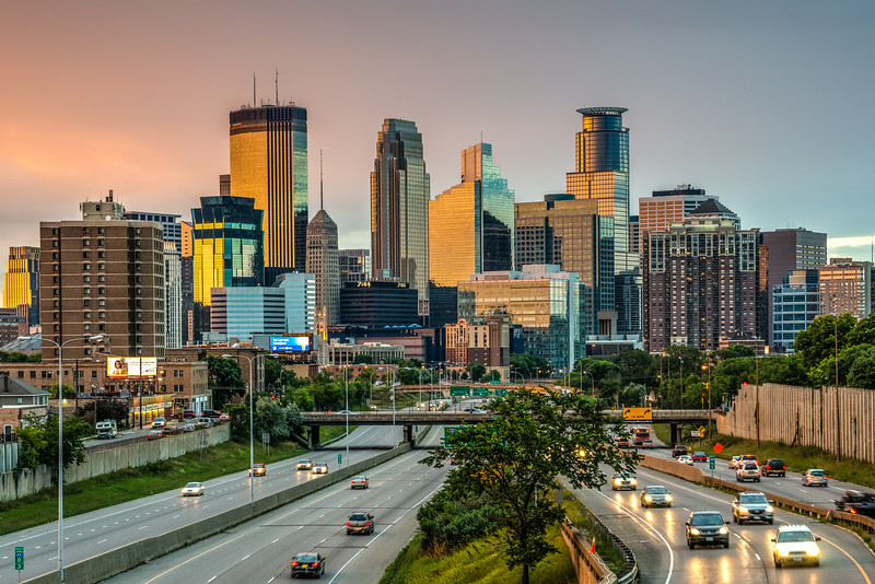 Downtown Minneapolis Skyline, Minneapolis at sunset