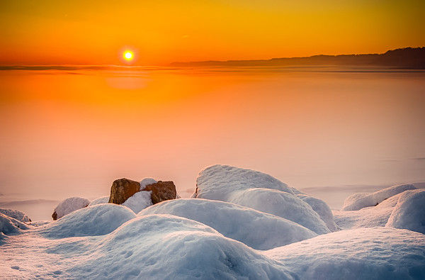 snow, ice, fog, Lake Pepin, Minnesota, Lake City, Sunrise