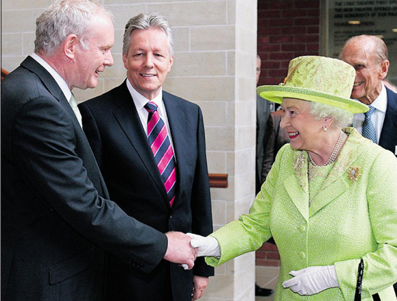 McGuinness and the Queen shake hands in Belfast, July 2012.