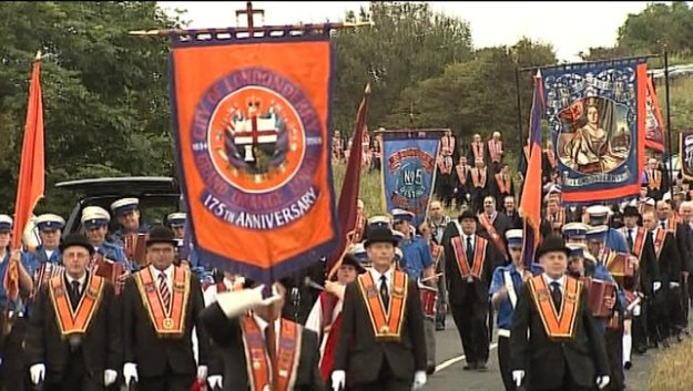 An Orange Order parade. Image from rte.ie.