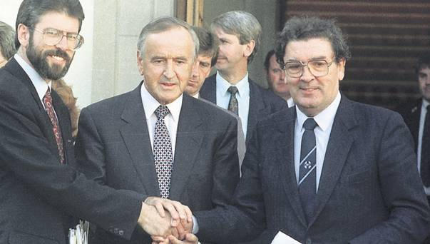 Adams, Reynolds and Hume shortly after the IRA ceasefire. Belfast Telegraph image.