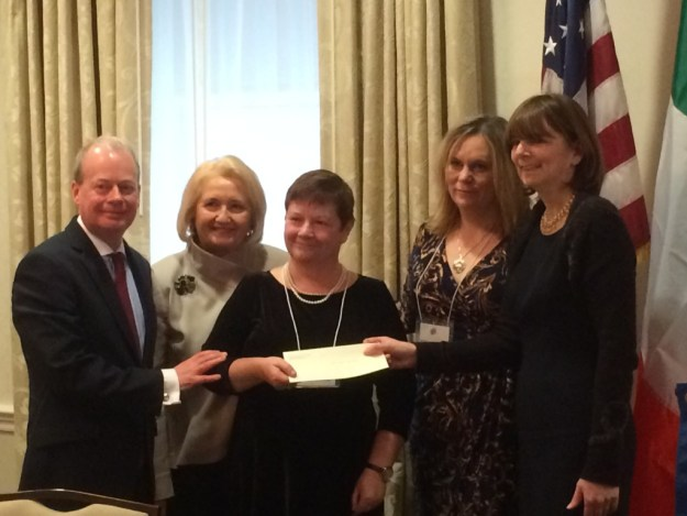 A $10,000 check is presented to the Northern Ireland Human Rights Fund. From l. to r.: Norman Houston, Northern Ireland Bureau; Melanne Verveer; Avila Kilmurray, Monique Choiniere Miller, Committee Chair; Mary Sugrue McAleer, Irish American Partnership.
