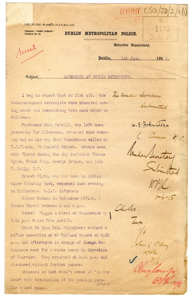 """Page from 1915 Dublin detective's report on """"extremists."""" From Irish National Archives."""