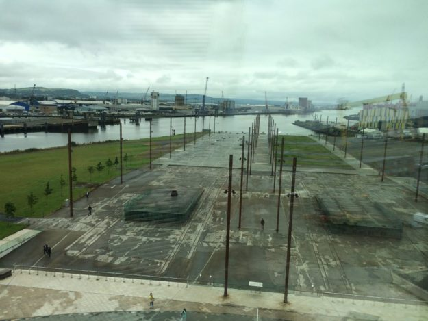 "View of the former Harland & Wolff dry docks where the ""Titanic' was built and launched in 1912 from inside the Titanic Belfast museum."