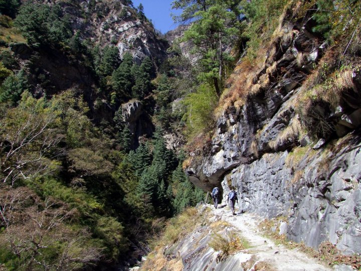 Cliffside trail through the wonderfully forested Naar Phu Gorge