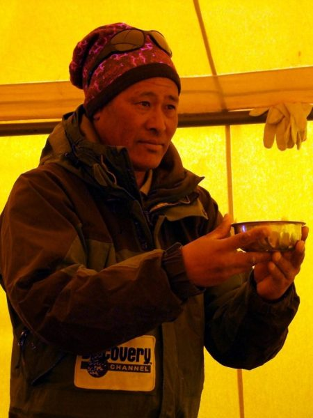 Chongba Sherpa (1964 - 2017) at the expedition puja ceremony on the north side of Everest in 2012
