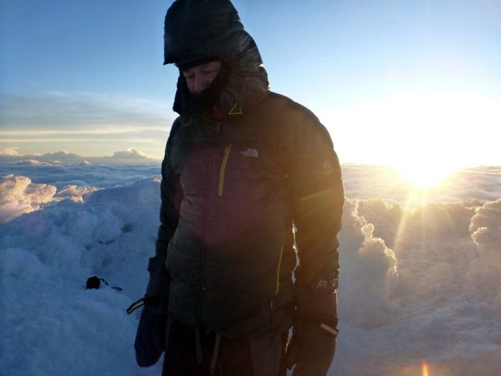 As you can see, I was delighted to arrive on the summit of Cayambe just as the sun was rising (Photo: Edita Nichols)