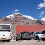 Vehicles at Carrel Hut (4500m) on Chimborazo